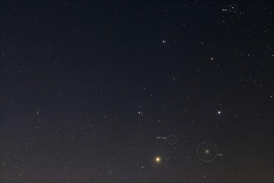 Antares und Messier 4 und Messier 80
