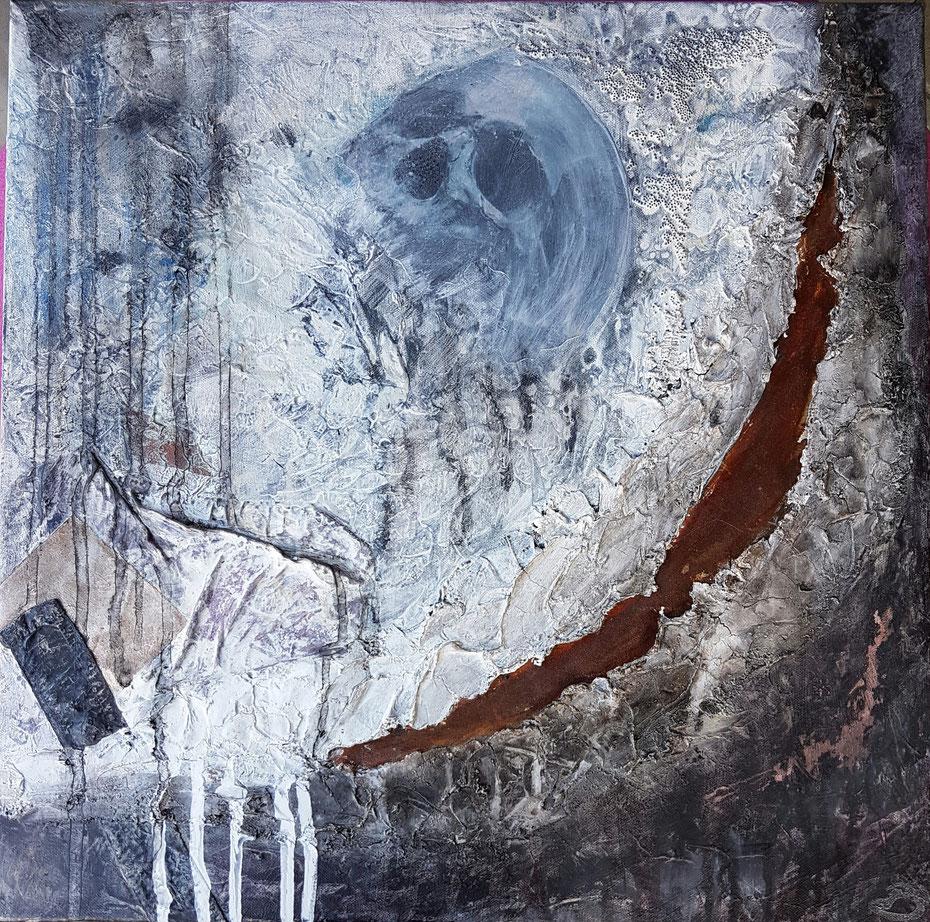 Leinwand 50 x 50 cm  Collage, Acryl, Mischtechnik, Marmormehl, Rost