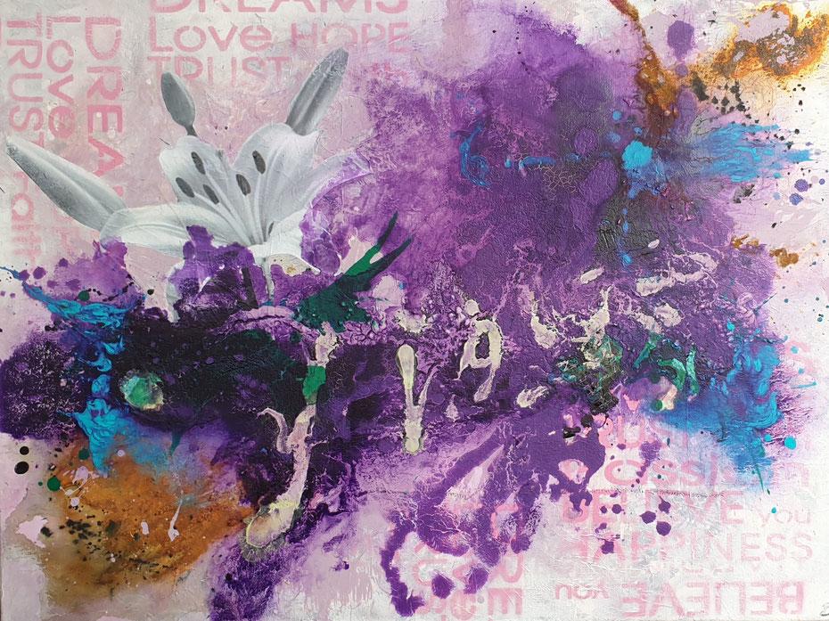FLOWER 80x60cm  Collage, Acrylmischtechnik