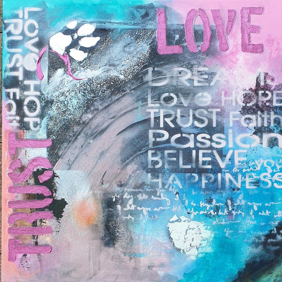 Geburtstagsgeschenk für Claudine - 50x50cm Collage auf Leinwand, Acryl, Mischtechnik