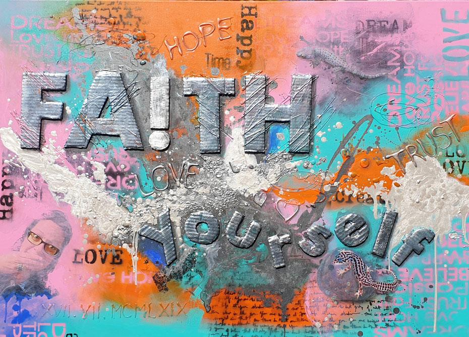 SOLD - Kundenauftrag 120x90cm Collage auf Leinwand, Acryl, Mischtechnik