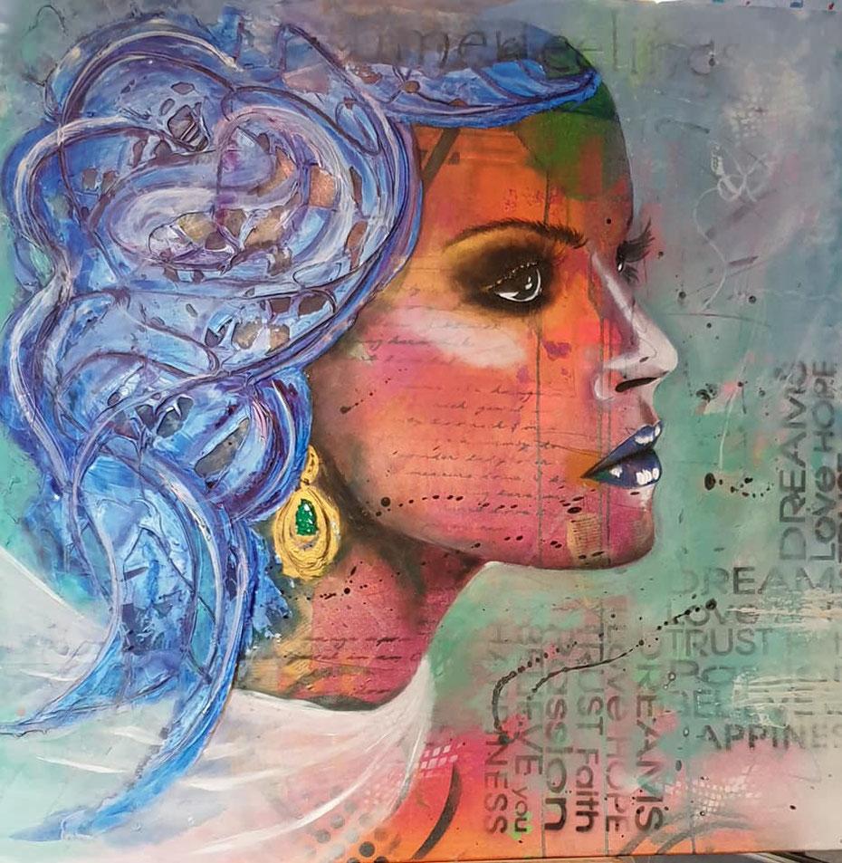 SUMMER FEELING überarbeitet - Collage, Acrylmischtechnik auf Leinwand 100x100 cm