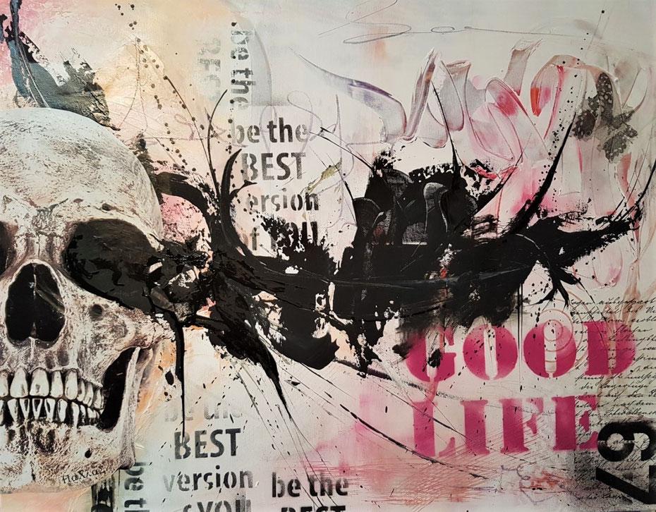 Leinwand 100x80cm Collage, Acryl, Mischtechnik