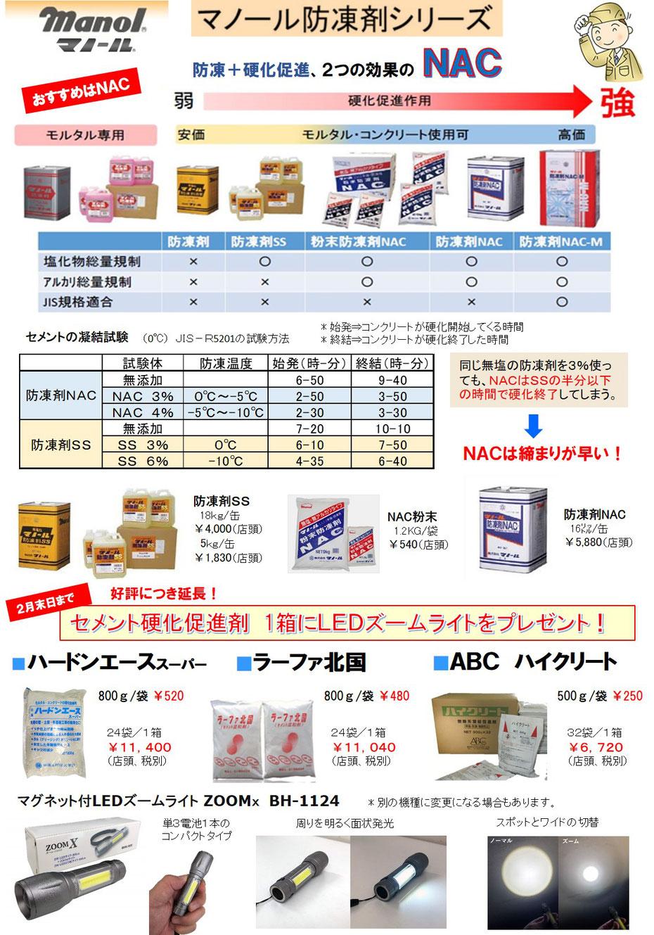 マノール防凍剤NAC、SS販売。ハードンエーススーパー、ABCハイクリート、ラーファ北国販売