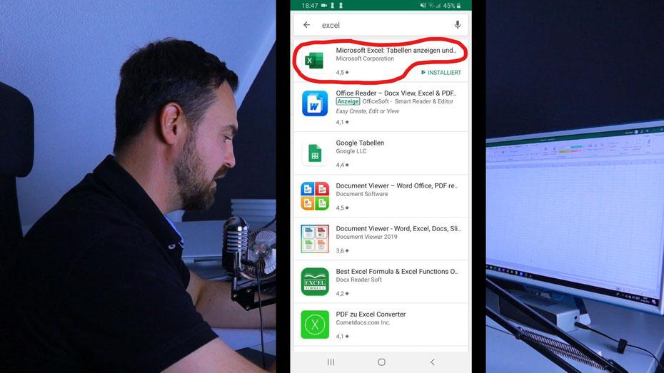 Excel App for Android um Bilder in Excel zu importieren
