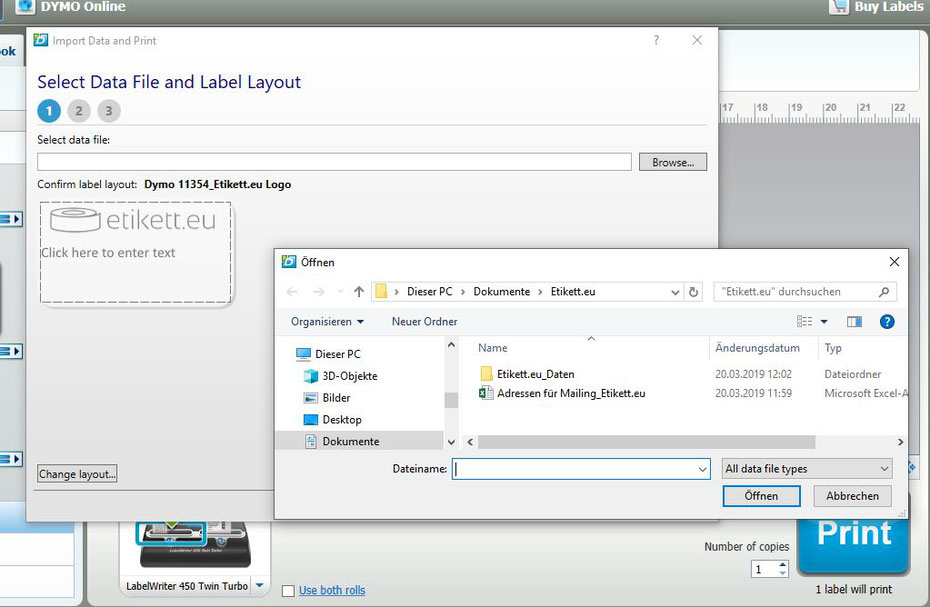 Excel-Datei auswählen