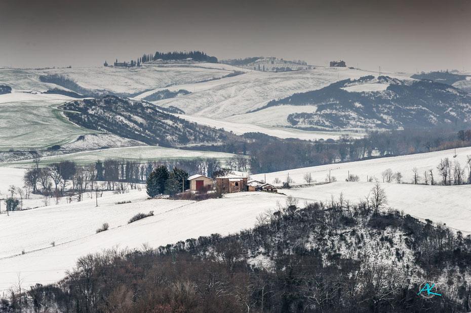 Podere Cancelli im Winterkleid, ein seltener Anblick