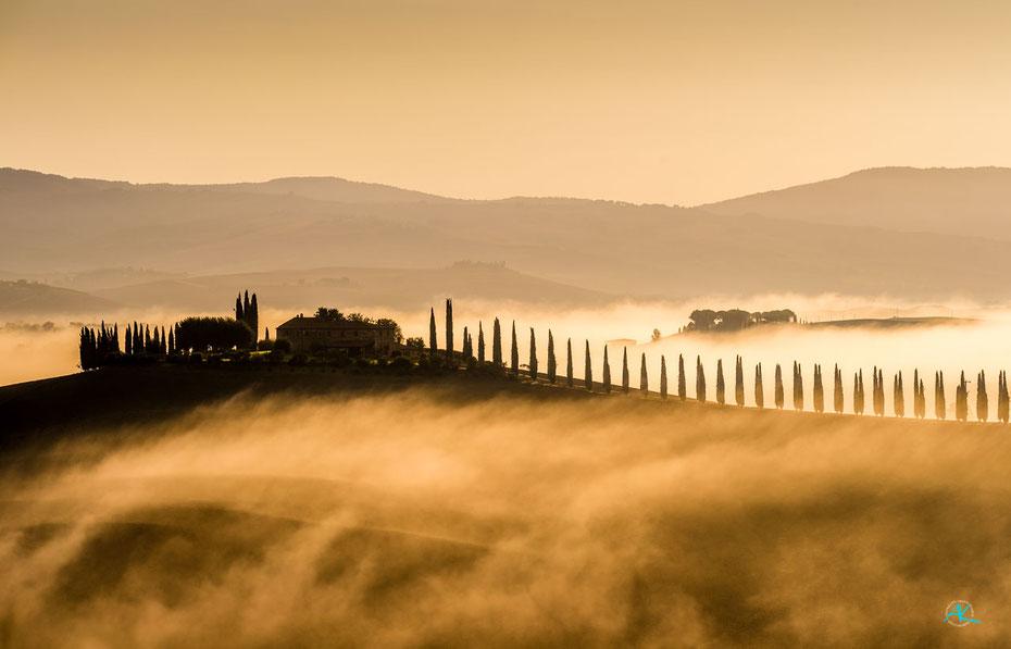 """Wie Brandungswellen flutet der Nebel die Hügel hoch: """"Poggio Covili"""", Castiglione D'Orcia"""