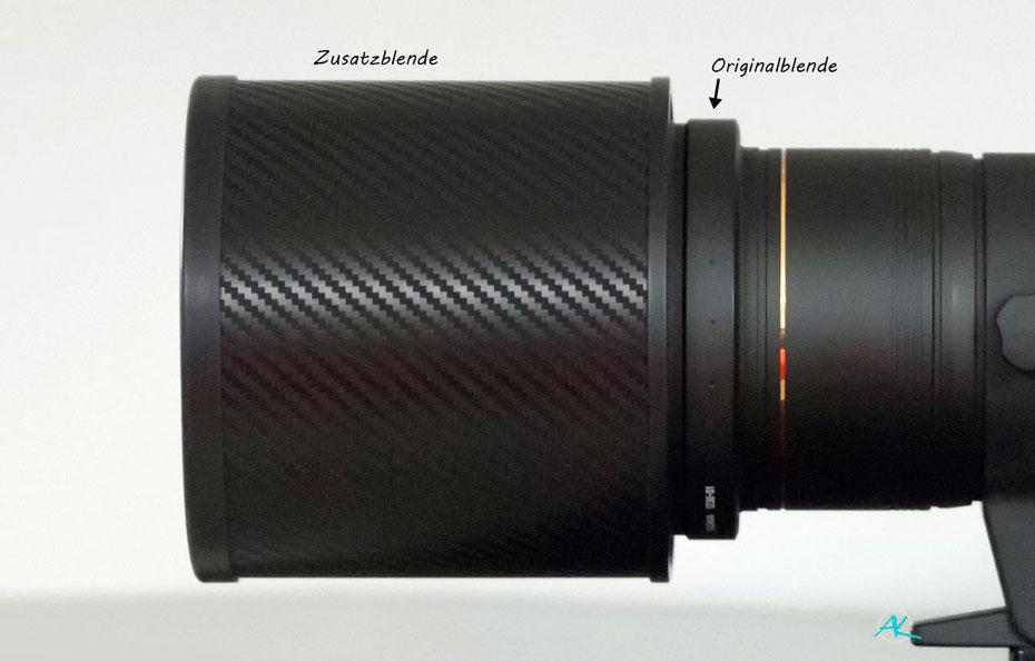 Zusatz- Gegenlichtblende für das Sigma 500mm 1:4,5 EX (DG) HSM Objektiv