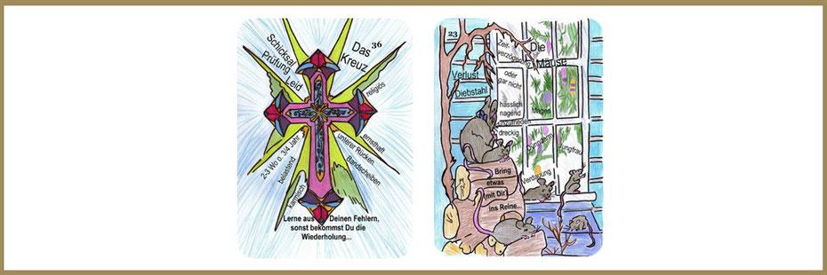 Lenormandkarten Kreuz und Mäuse