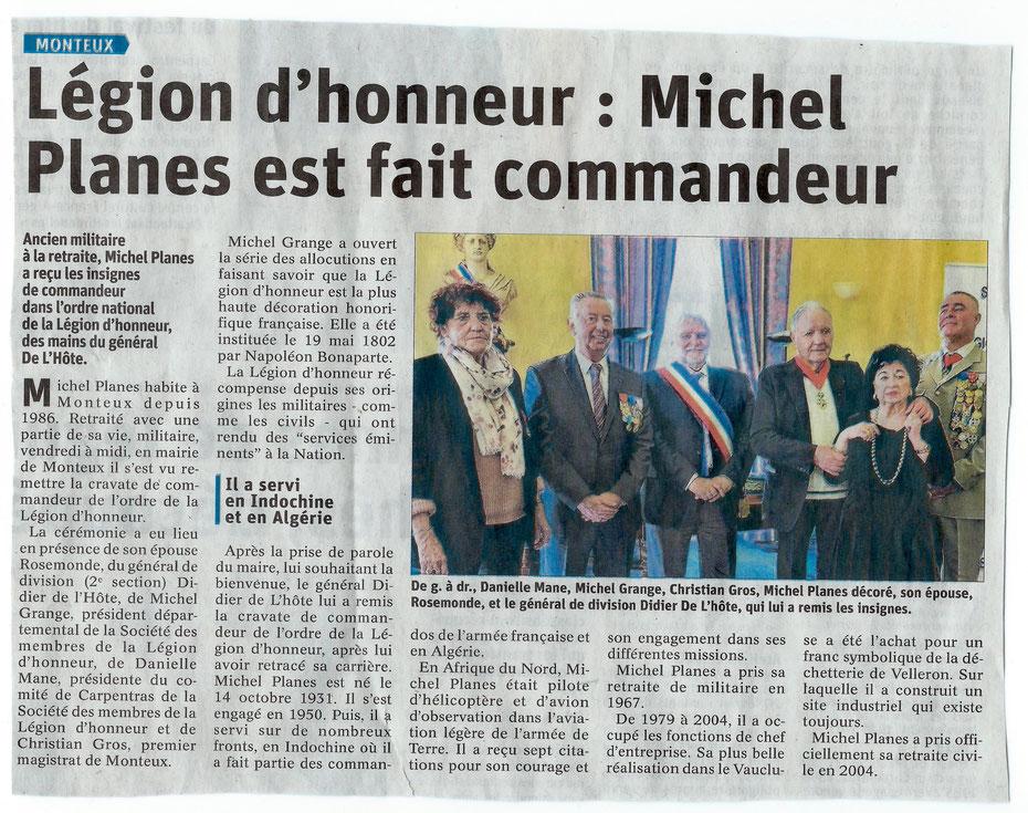 Article de journal - Michel Planes commandeur de la Légion d'honneur - aaalat-languedoc-roussillon.fr