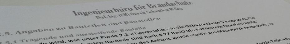 Brandschutznachweis Berlin Teilauszug