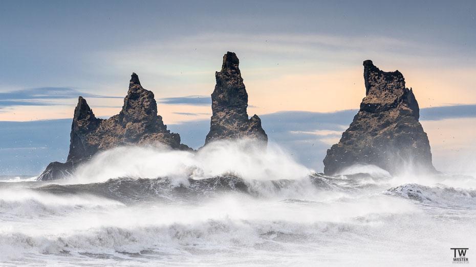 …der die bekannten Reynisdrangar-Felsen in ihrem Umfeld zeigen: mit meterhohen Wellen und vielen Seevögel, die dem Wetter trotzen… (B1607)