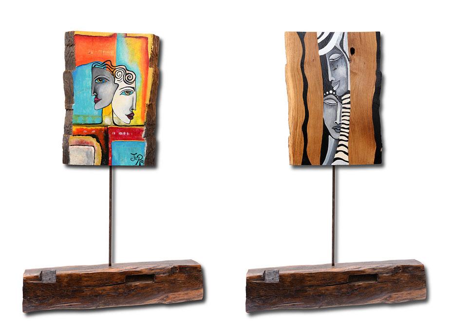 Holz Skulptur, Bemalte Eichen Platte auf einem Fachwerk Ständer, mit Acrylfarbe bemalt und mit Boots Lack versiegelt, auch für den Außen Bereich geeignet