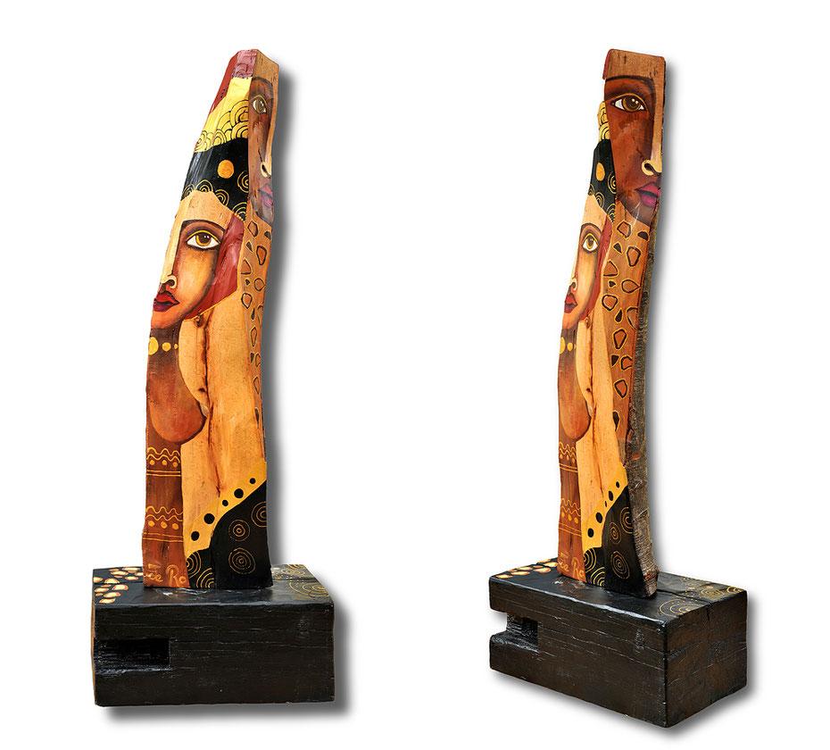 Bemaltes Buchenholz auf Holzständer zwei Frauen, Akt