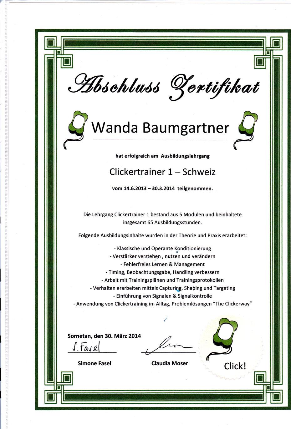 Hundeschule Aargau Zertifikat Clickertrainer Clickerzentrum Sornetan Claudia Moser