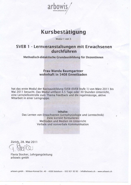 Hundeschule Aargau Zertifikat SVEB Erwachsenenbildner
