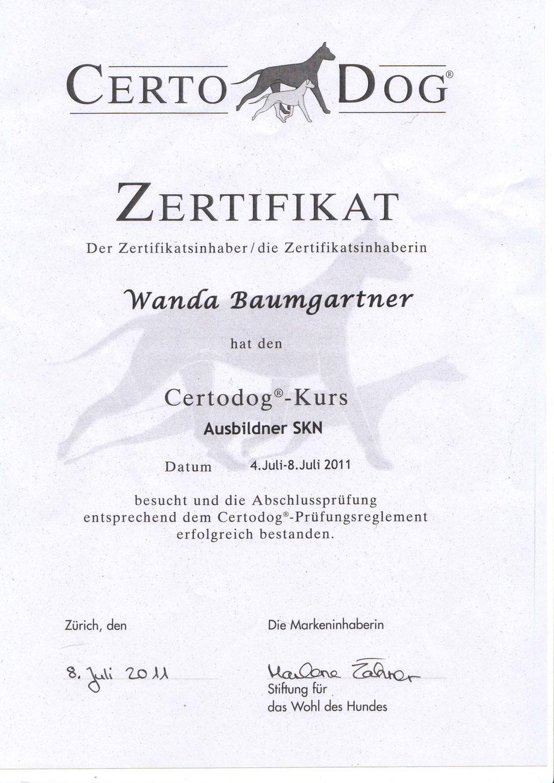 Hundeschule Aargau Zertifikat SKN Trainer Certodog