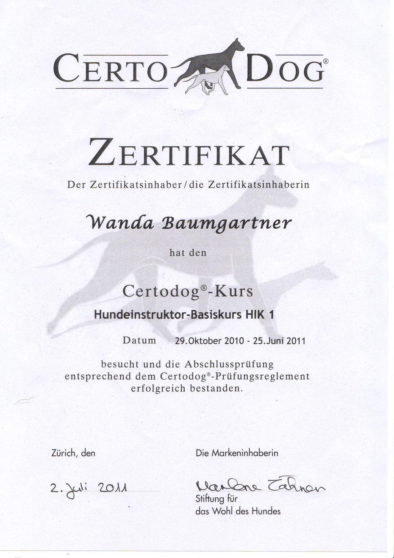 Hundeschule Aargau Zertifikat Hundeinstruktor HIK I Certodog