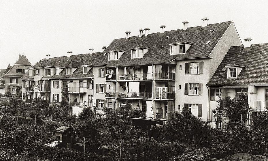 Pflanzareal und Hühnerstall: die Gartenseite der Siedlung Schützenmatte in der Zwischenkriegszeit