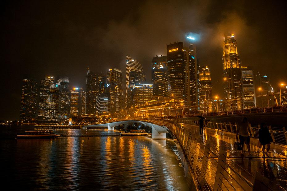 Light up the Night - die Skyline von Singapur macht auch im nächtlichen Regen eine gute Figur, oder?