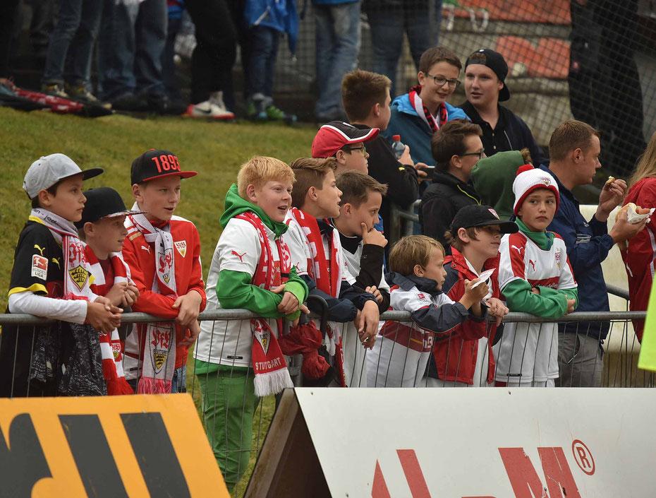 Fans des VfB Stuttgart warten auf ihre Mannschaft um ein paar Autogramme zu ergattern.