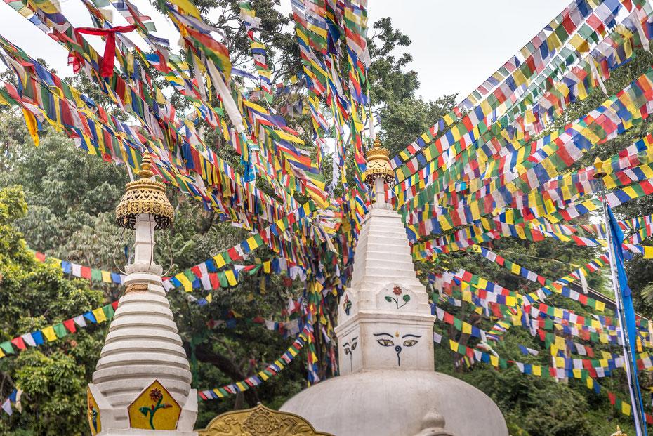 Swayambhunath - auf einem Hügel über der Hauptstadt Kathmandu steht einer der heiligsten Buddha Stupas überhaupt.