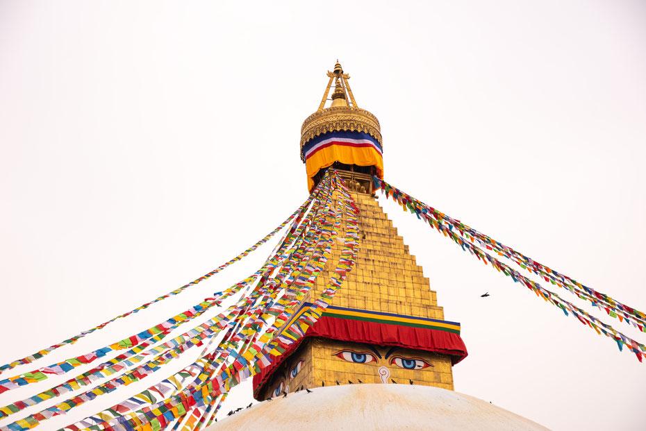 """Der Stupa von Bodnath zählt mit 36 Metern Höhe zu den höchsten der Welt. Der Vorort in Kathmandu ist so etwas wie """"Little Tibet"""" und Treffpunkt der buddhistischen Gläubigen aus Nepal und der ganzen Welt."""