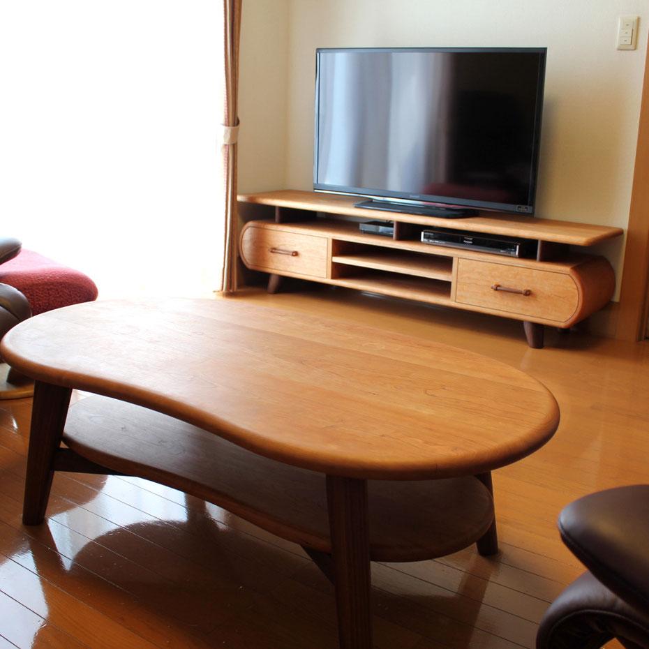 そら豆センターテーブルに合わせて作った特注テレビボード(高崎市・I様邸)