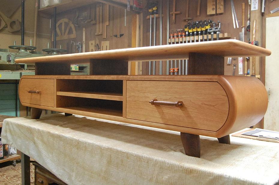 そら豆センターテーブルに合わせて作った特注テレビボード(高崎市・I様邸)製作
