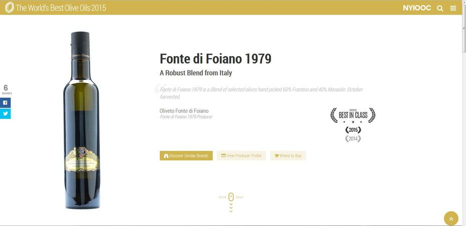 Best in Class - Fonte di Foiano 1979 - New York International Olive Oil Competition