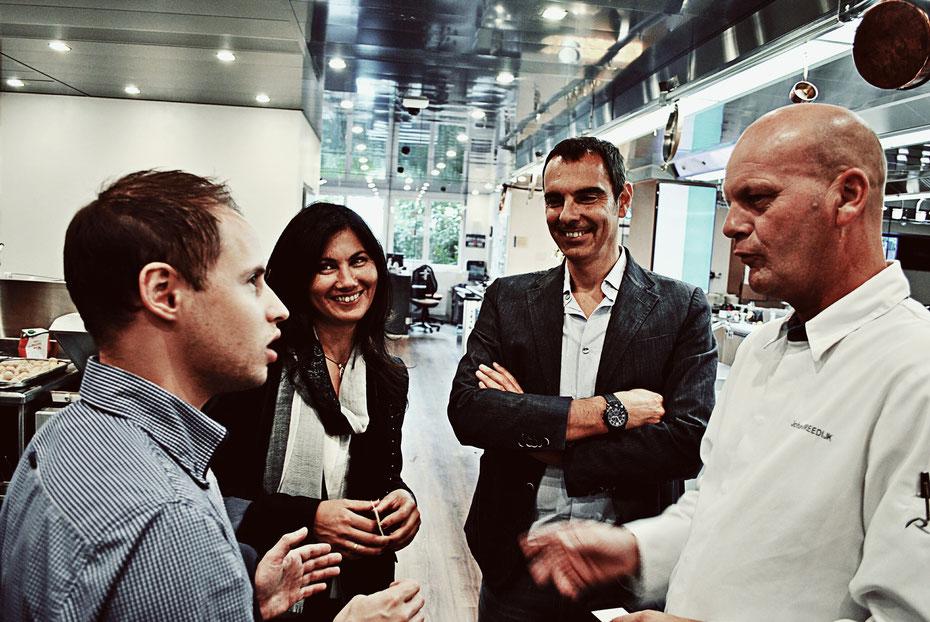 Chef Johan Breedijk ART DECO HOTEL MONTANA im Gespräch mit Silvan Brun und Sophia Amariotaki Streich von evoo und mit Spitzenerzeuger Giorgio Franci aus Montenero d'Orcia