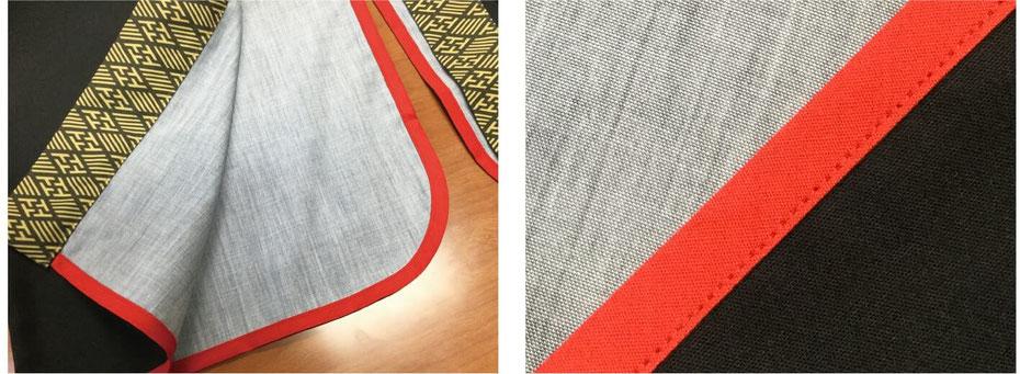 バイヤステープは貼り付けるものでなく、縫い付けますので、しっかりとした仕立てになります。