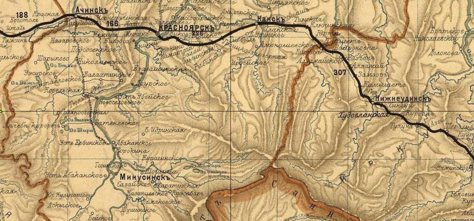 Село Новоселовское и станица Соляноозерная на карте Енисейской губернии 1901 года