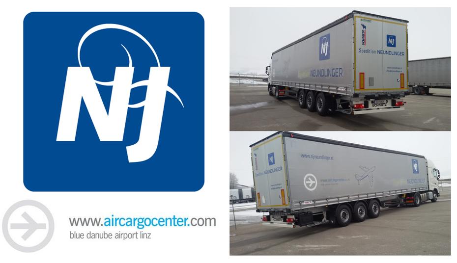 Josef Neundlinger Spedition und Erdbau; Oberkappel (Bezirk Rohrbach) unterwegs für den Blue Danube Airport Linz (Aircargocenter; Flughafen Linz)
