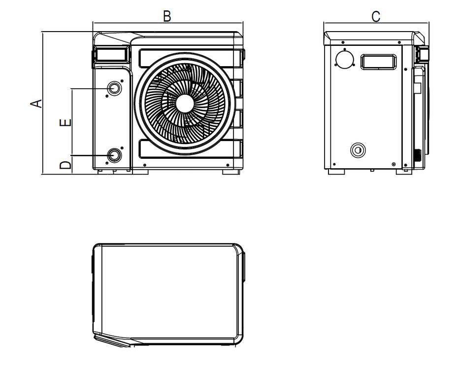Dimensioni della pompa di calore per piscine Nano Turbo