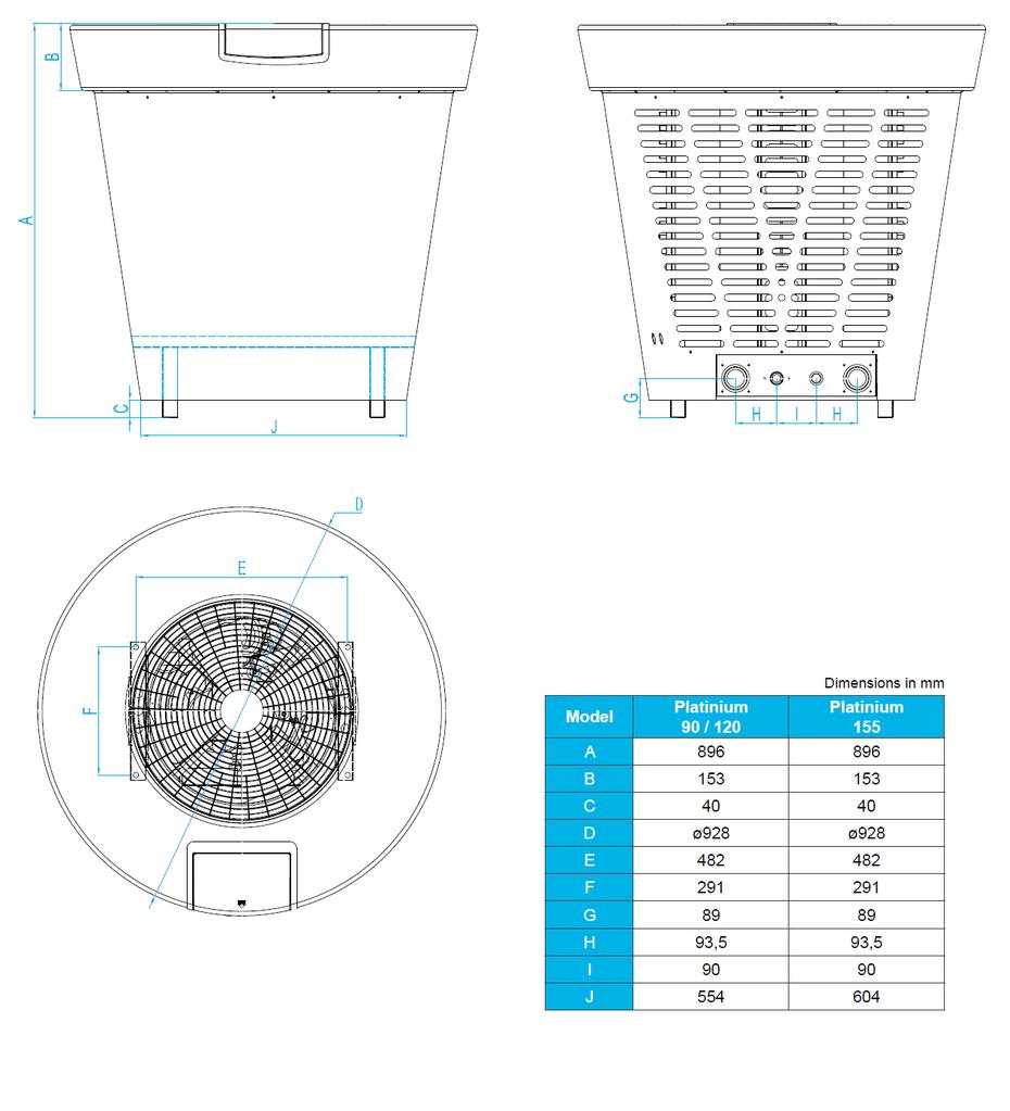 Dimensioni pompe di calore per piscine Platinium