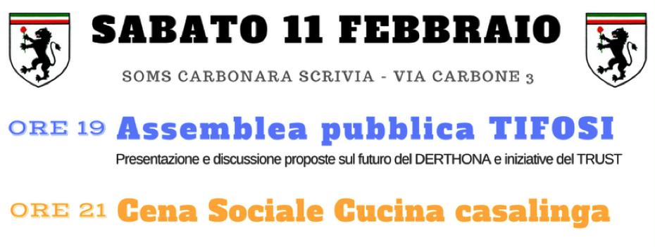 ASSEMBLEA PUBBLICA TIFOSI DERTHONA + CENA SOCIALE