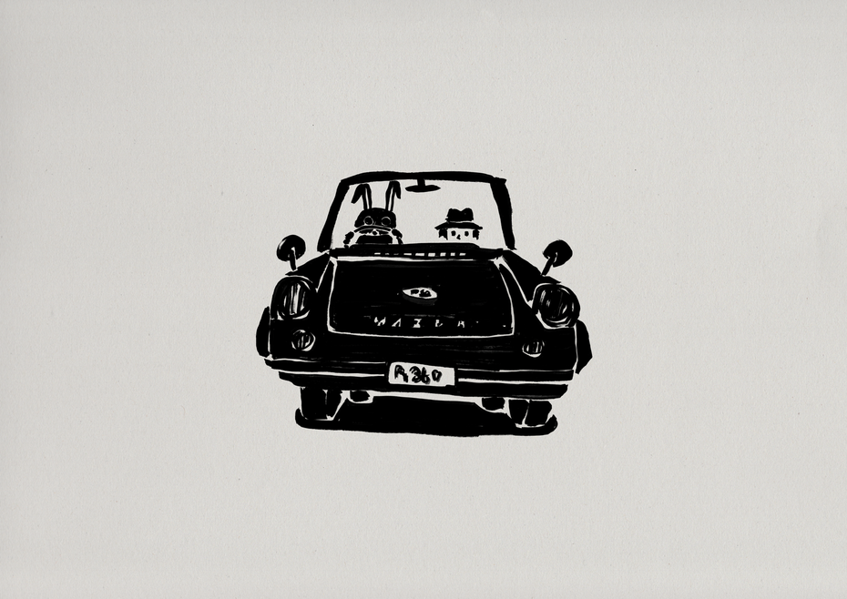 mazda R360 coupe / Felt tip pen Takashi Miyata Illustration