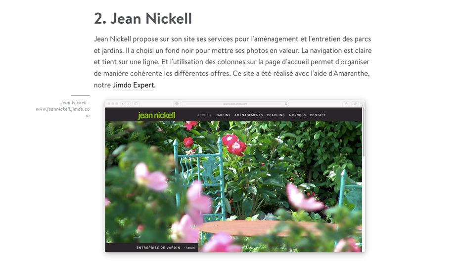 Le site de Jean Nickell à l'honneur sur le blog de Jimdo