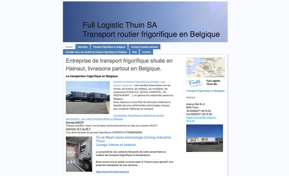 L'ancien site de Full Logistic avait été créé en 2012, suite à une journée de formation Jimdo