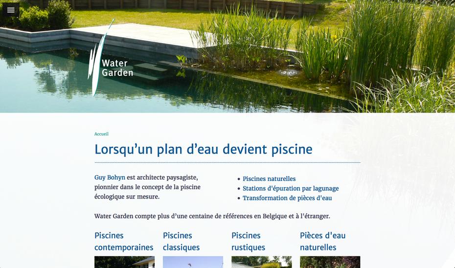 Le nouveau site de Water Garden (créé avec Jimdo)
