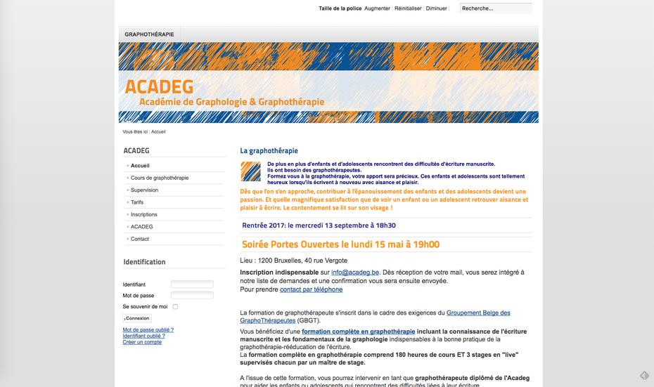 L'ancien site de l'ACADEG créé avec Joomla