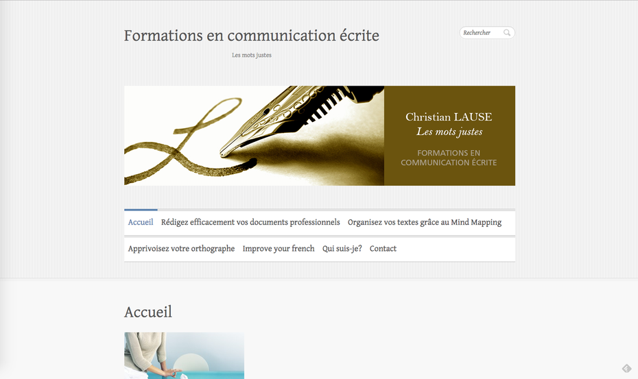 L'ancien site de Christian créé avec une version de base de Wordpress