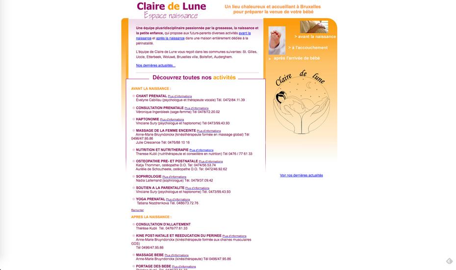 Le vieux site de Claire de Lune, créé par Amaranthe en 2005 (du pur HTML !)