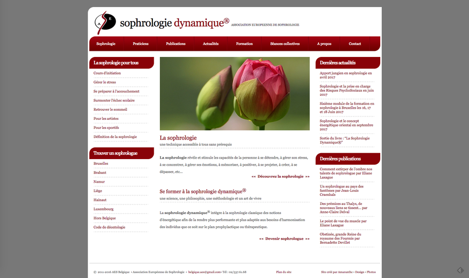 L'ancien site sophro.be créé par Amaranthe