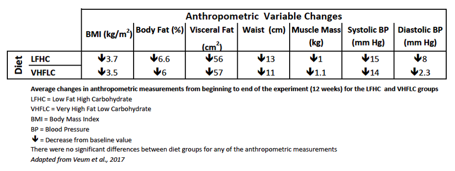 Average changes in anthropometric measurements from beginning to end of the experiment (12 weeks) for the LFHC and VHFLC groups
