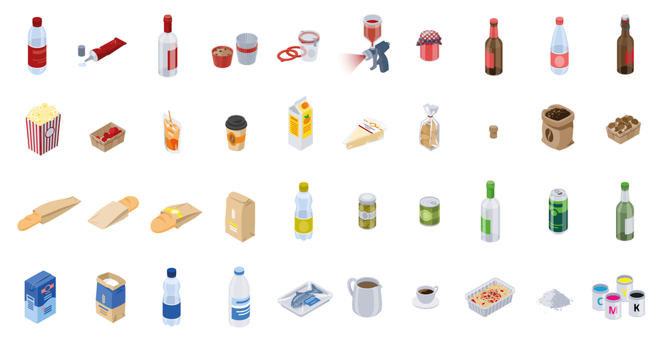 Verschiedene Icons und Visualisierungen, Verpackungsmaterial wie PET, Alu, Glas, Papier, Karton, Keramik, PE, Kork, Holz, Metall, Kunststoff und viele mehr © Michael Stünzi