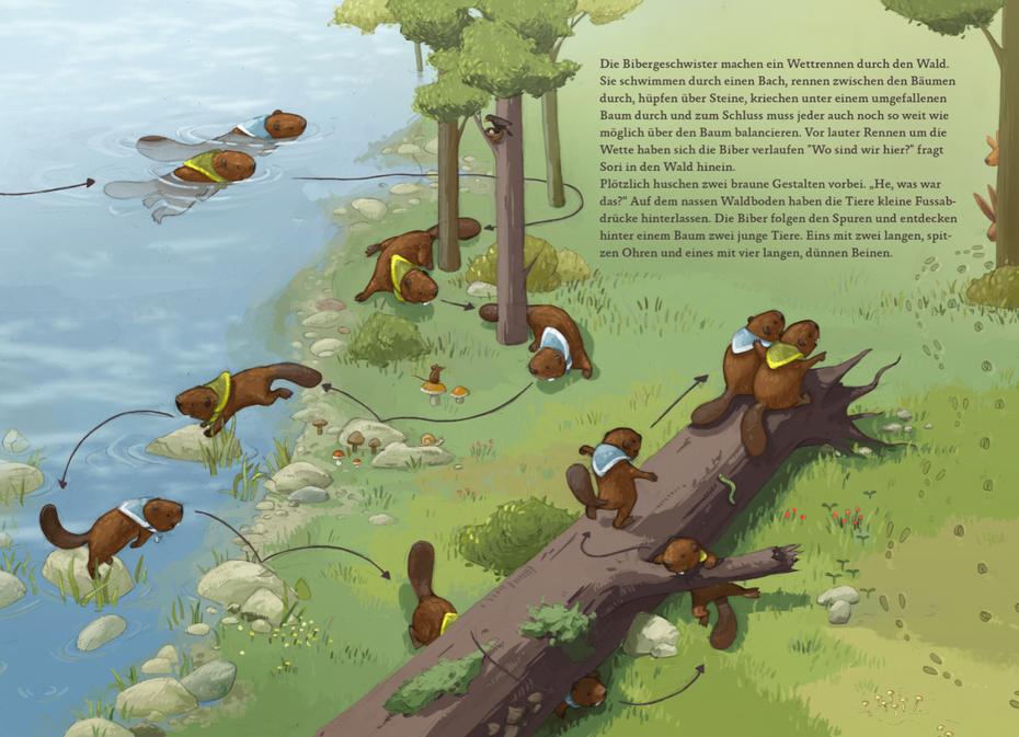 Probeillustration Seite 7 und 8 des Kinderbuchs © Michael Stünzi
