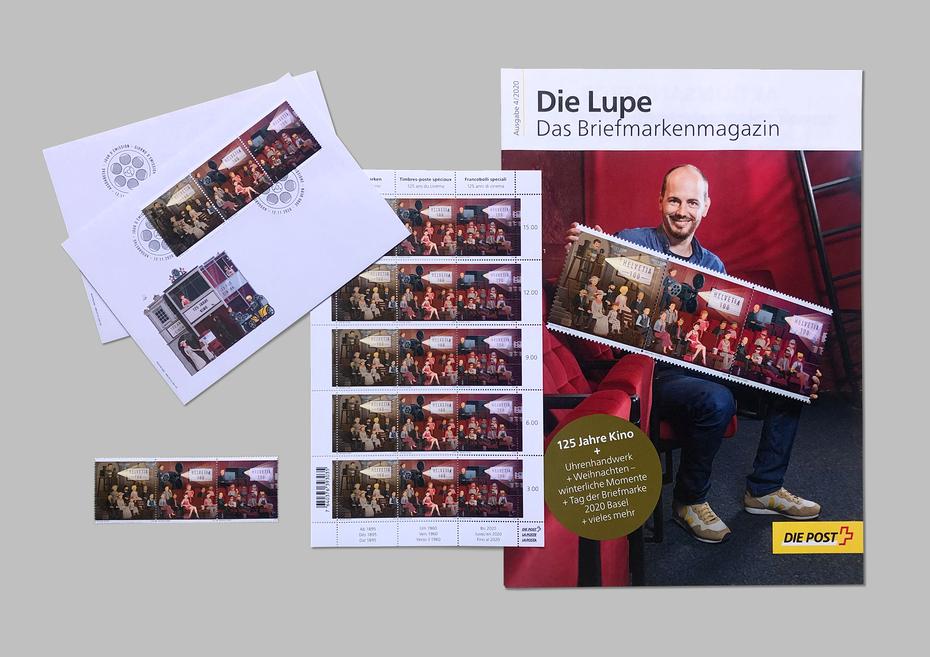"""Ersttagsumschlag, Marke und Magazin """"Die Lupe"""" Ausgabe 4/2020 © Die Post"""